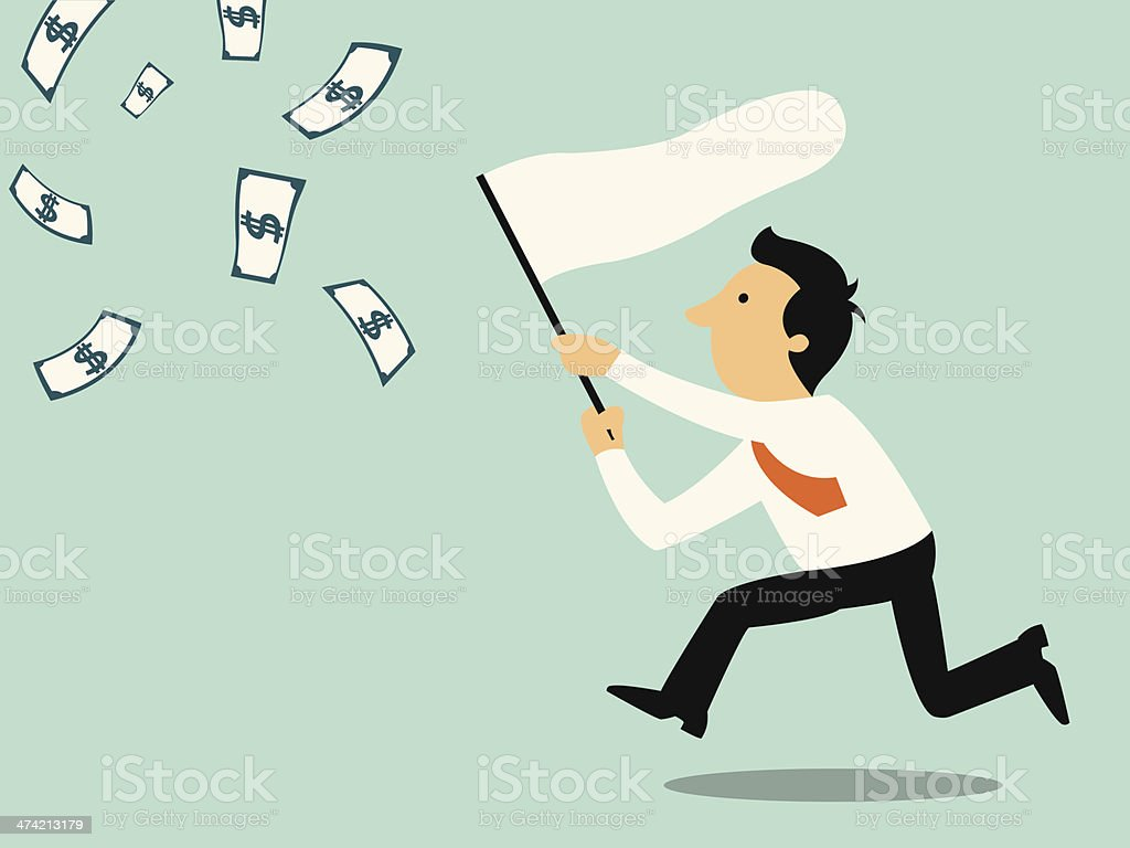 Chasing money vector art illustration