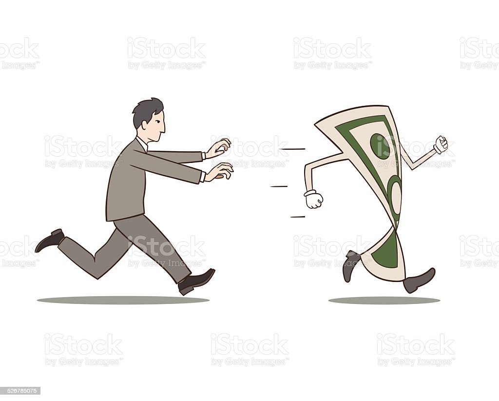 Chasing money vector art illustration