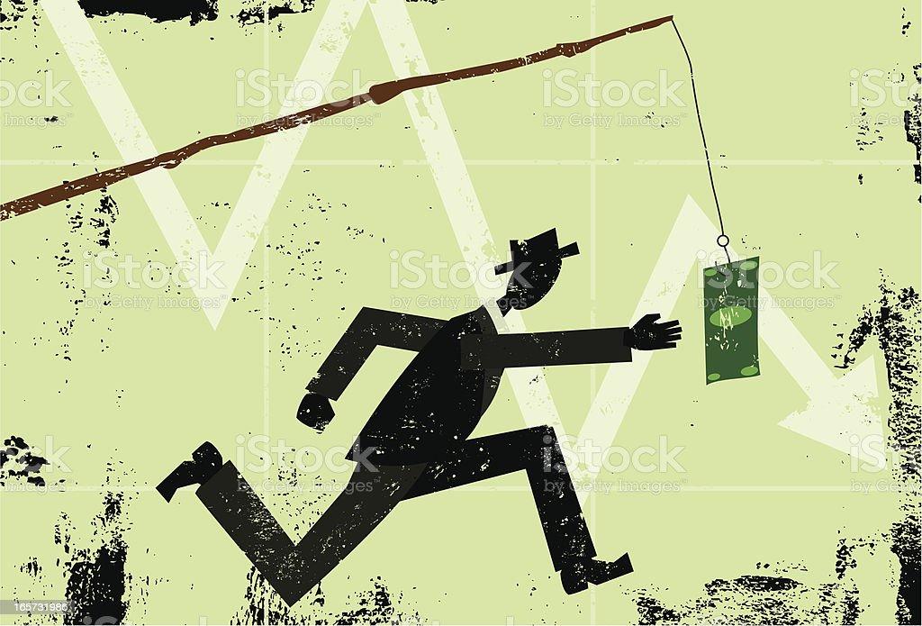 Chasing the dollar vector art illustration