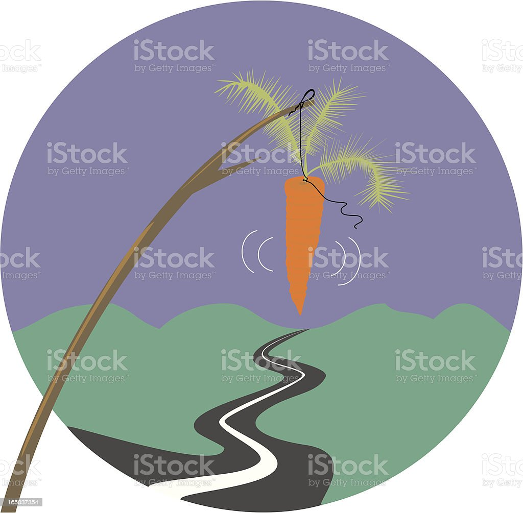 Chasing the Proverbial Carrot on a Stick royalty-free stock vector art