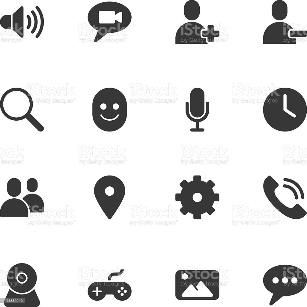 Chat App icons - Regular vector art illustration