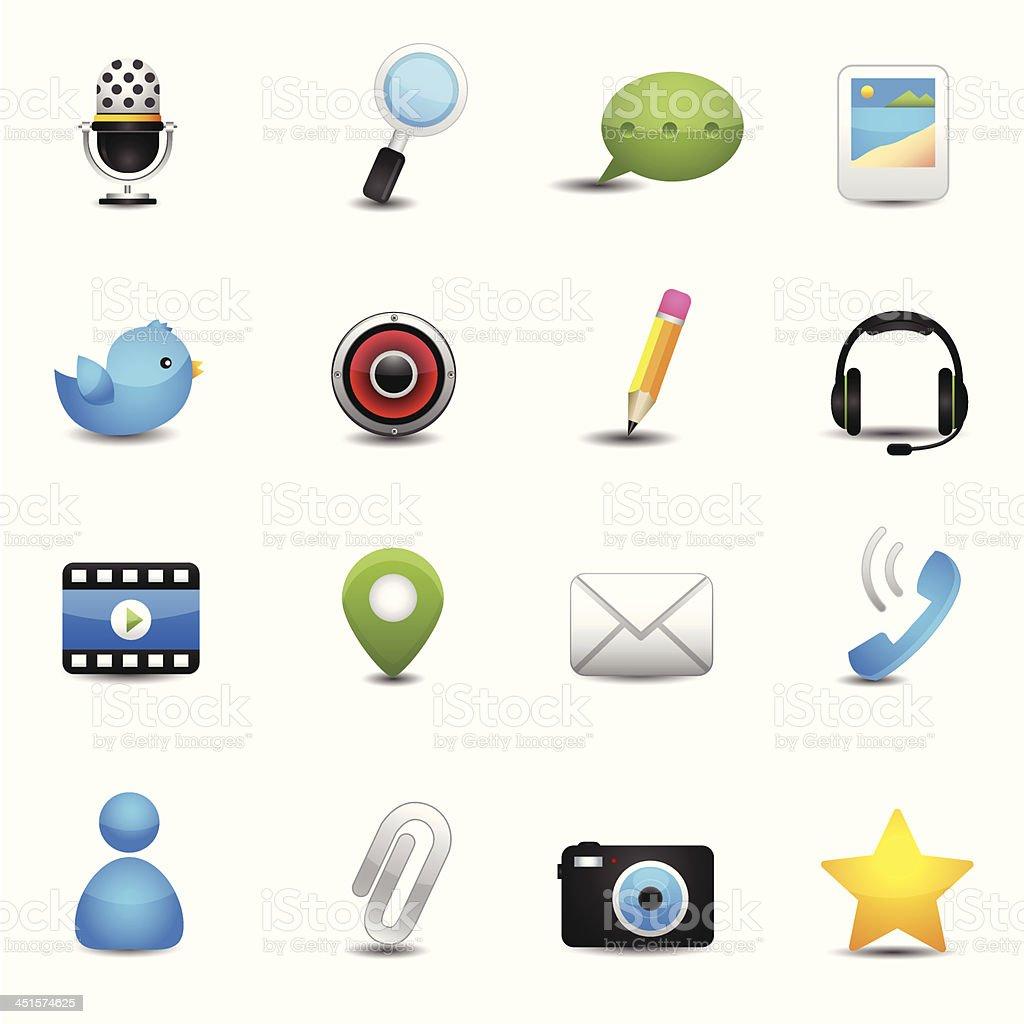 Chat application and social media icons vector art illustration