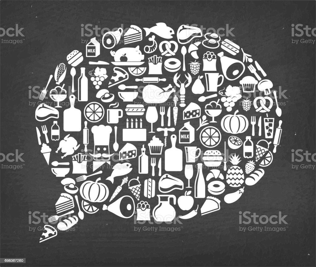 Chat bubble Food & Drink royalty free vector icon pattern. This image...