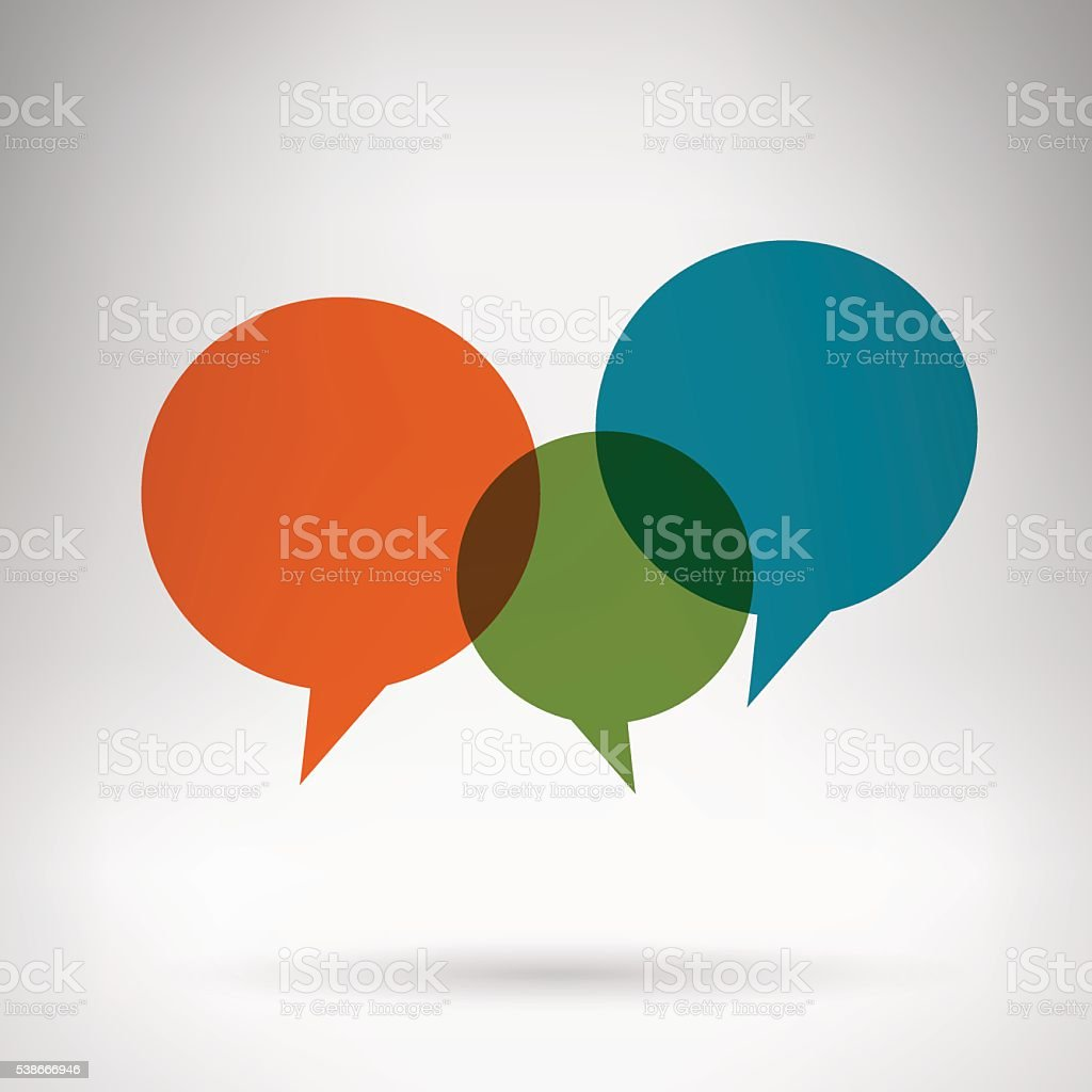 Chat bubbles multicolor in grey space vector art illustration