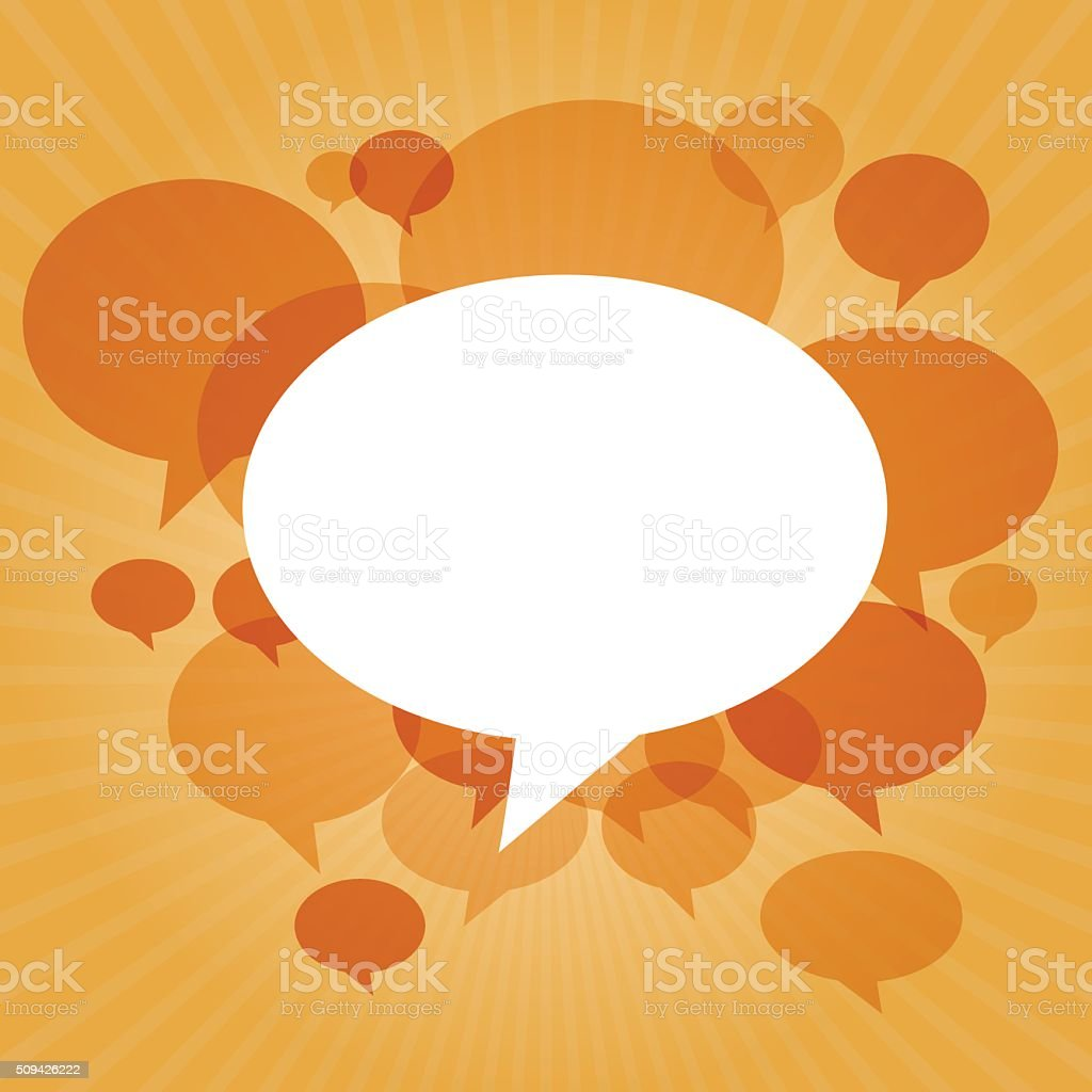 Chat bubbles on orange light rays background vector art illustration