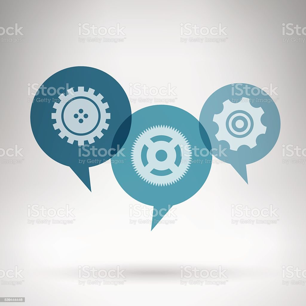 Chat bubbles teal colored with gears in grey room vector art illustration