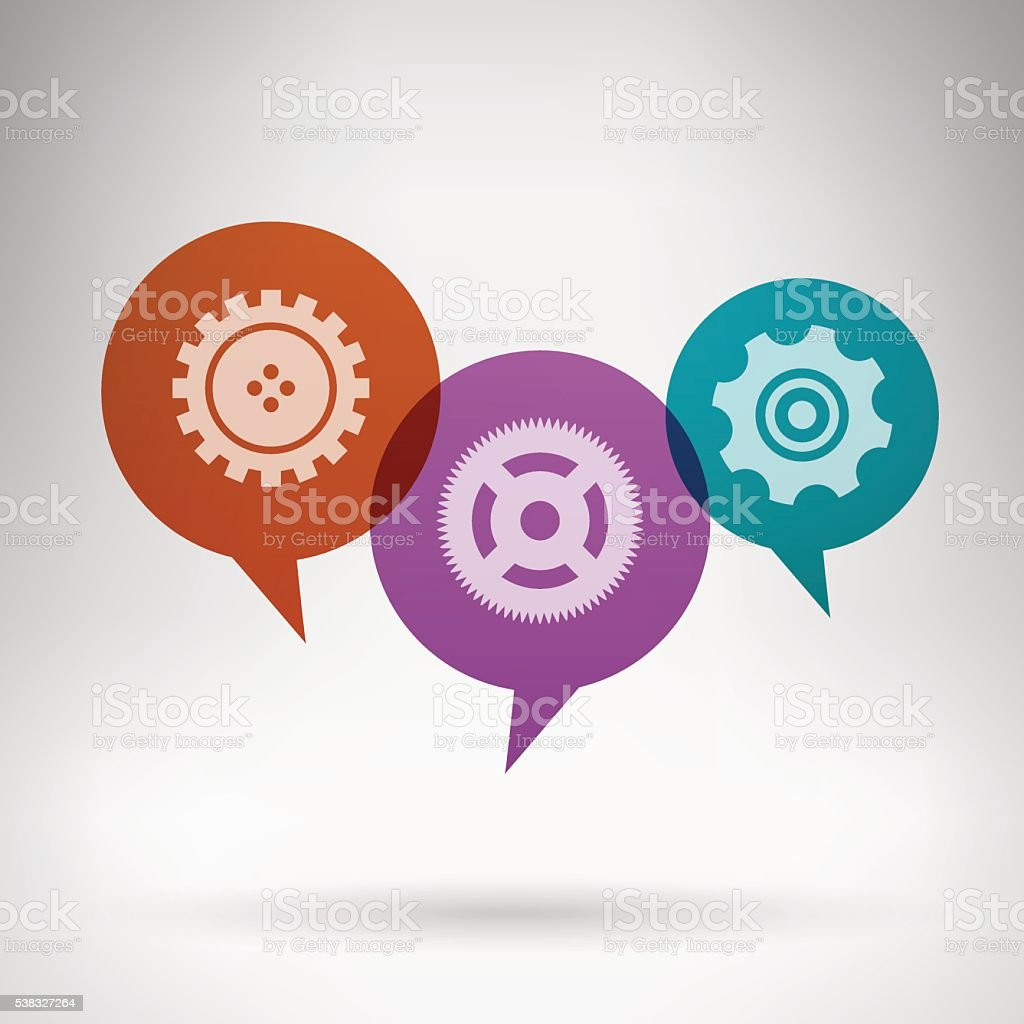 Chat bubbles with gears in grey room vector art illustration