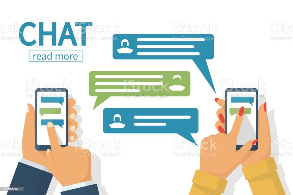 Chat concept. Texting messages in internet. vector art illustration