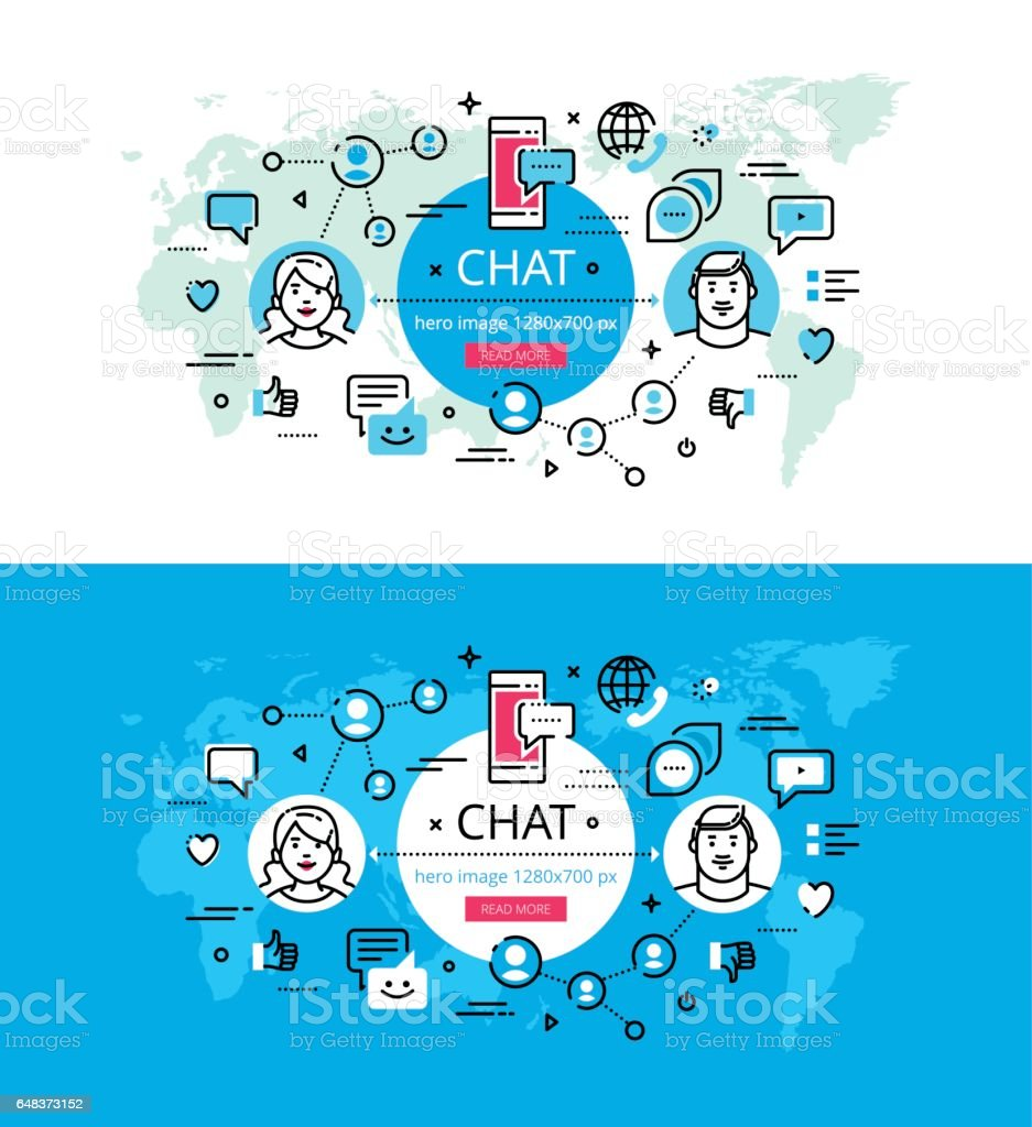 Chat. Flat line color hero images and hero banners design concept vector art illustration