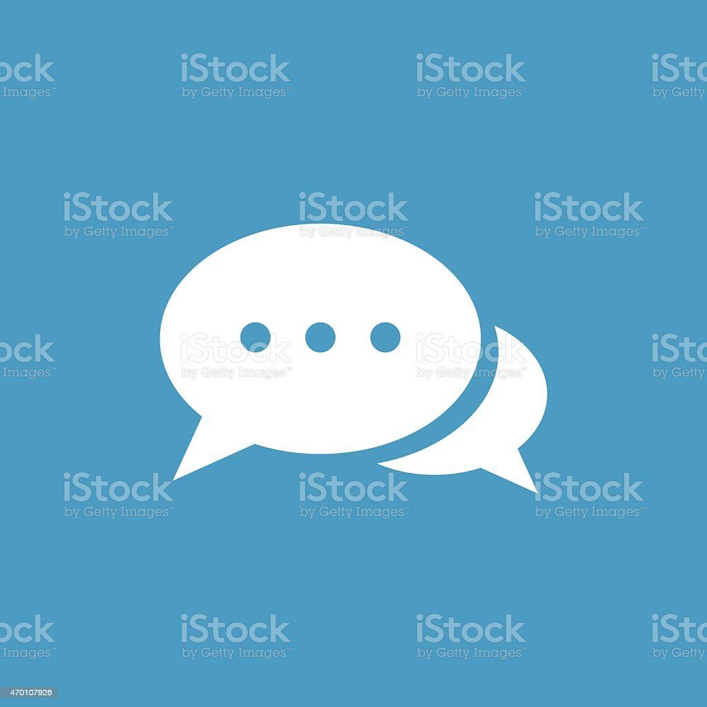 chat icon, white on the blue background vector art illustration
