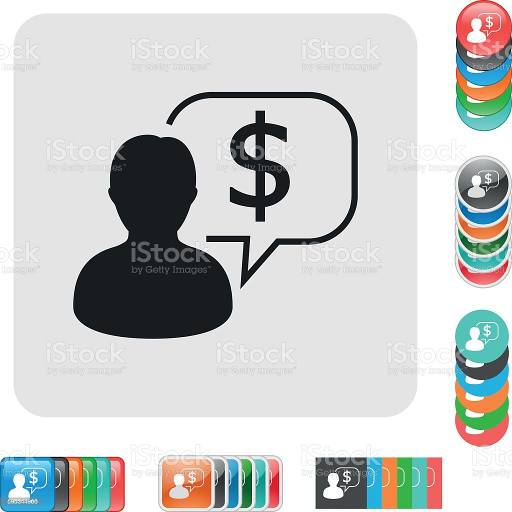 chat icon with dollar sign vector art illustration