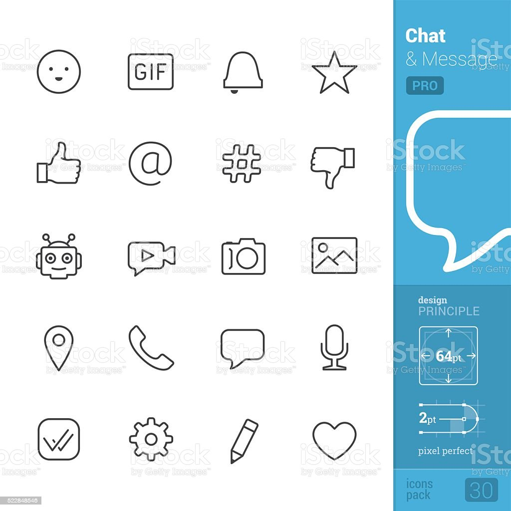 Chat interface vector icons - PRO pack vector art illustration