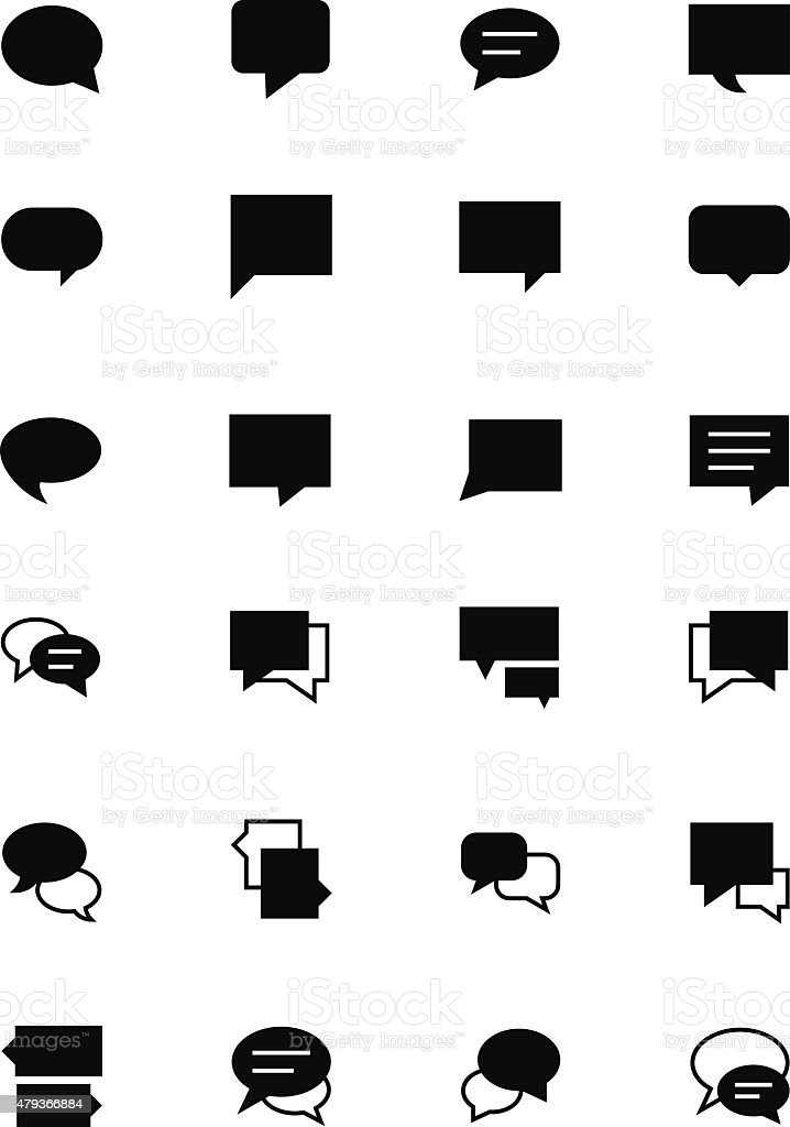 Chat Massages Solid Vector Icons 2 vector art illustration