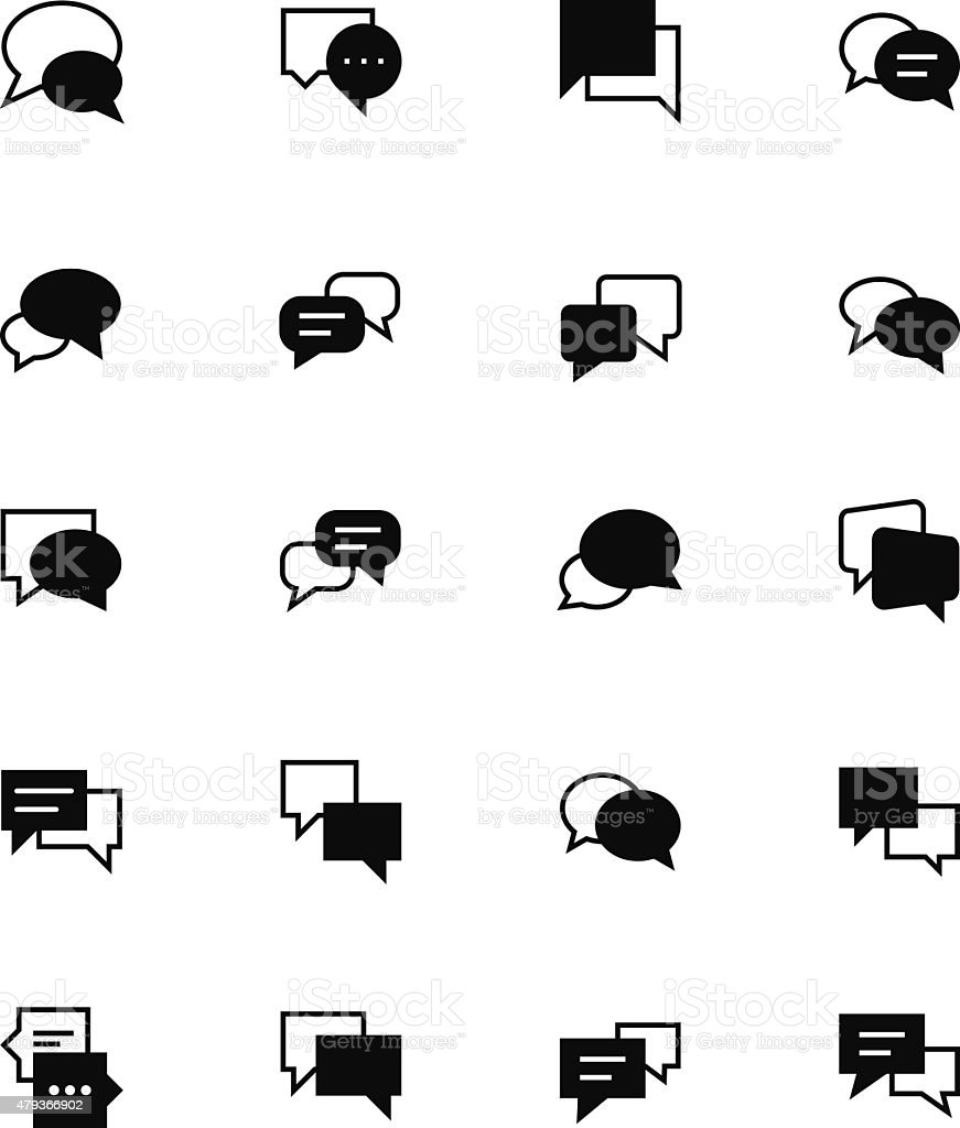 Chat Massages Solid Vector Icons 3 vector art illustration