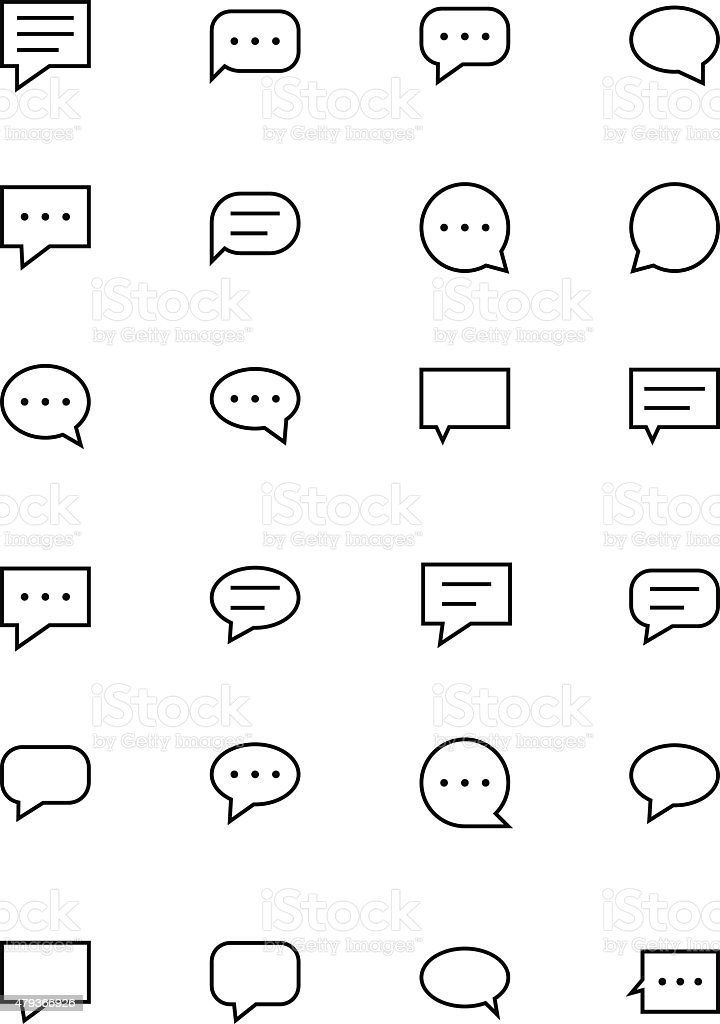 Chat Messages Line Vector Icons 1 vector art illustration