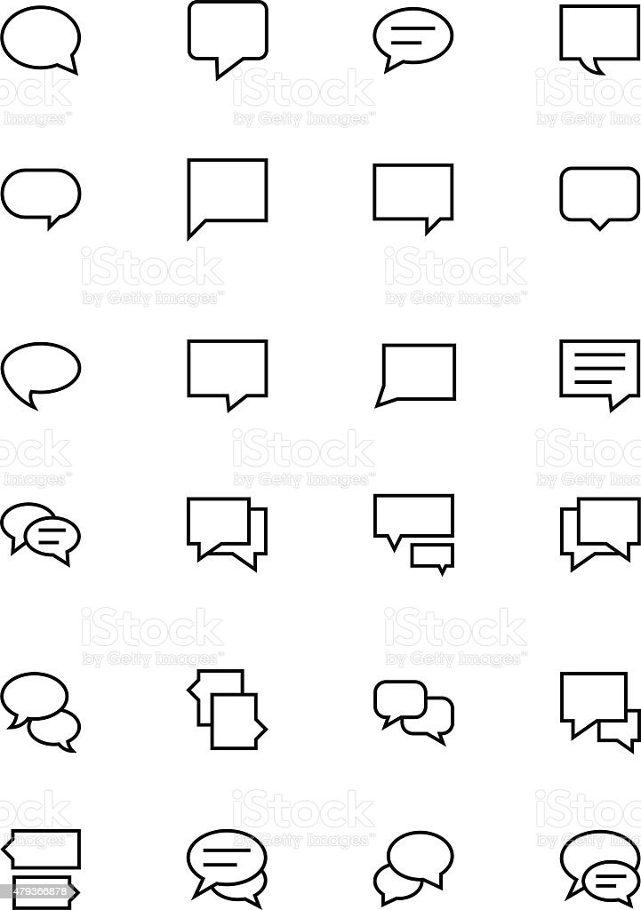Chat Messages Line Vector Icons 2 vector art illustration