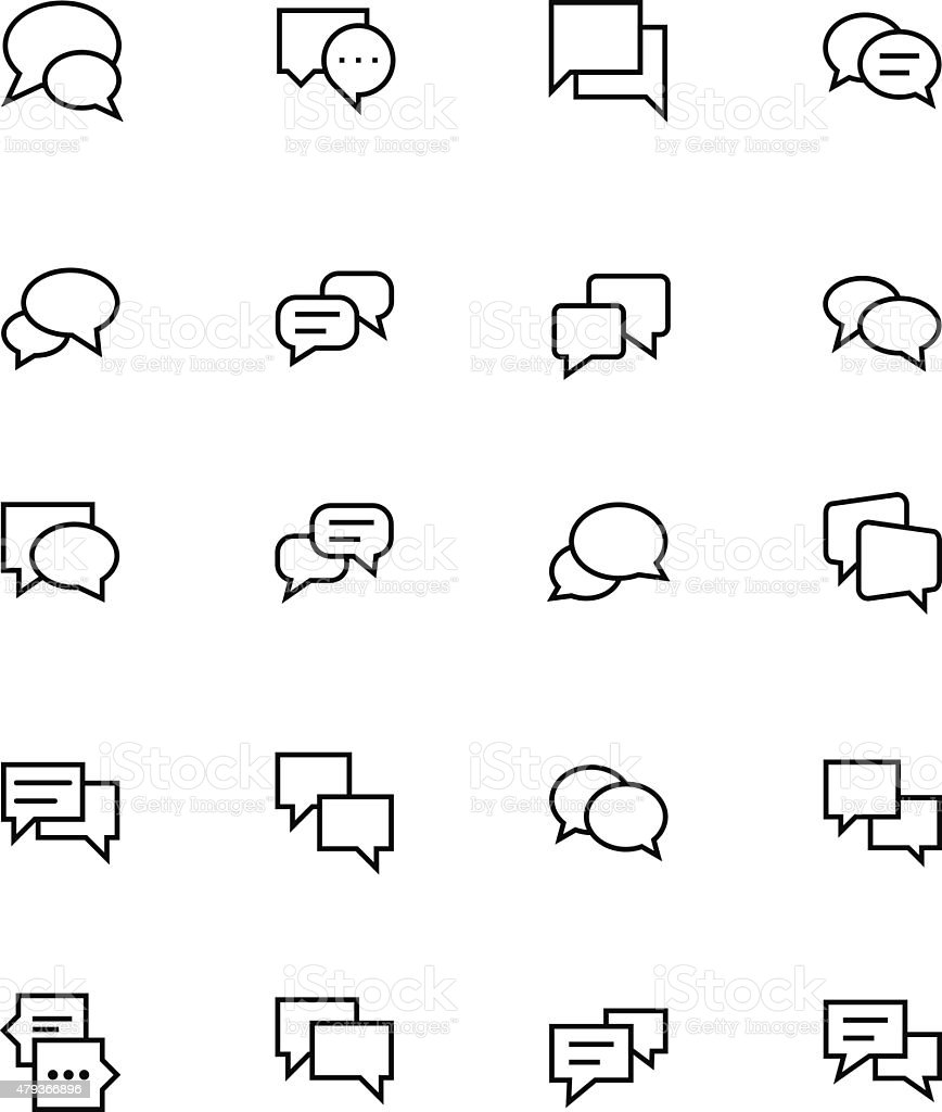 Chat Messages Line Vector Icons 3 vector art illustration