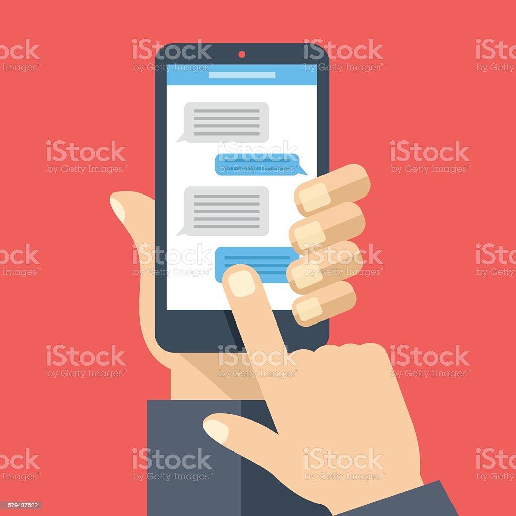 Chat on smartphone screen. Instant messaging, texting. Flat vector illustration vector art illustration