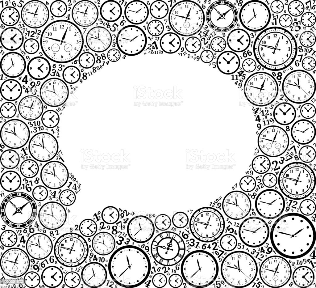 Chat on Time and Clock Vector Icon Pattern vector art illustration