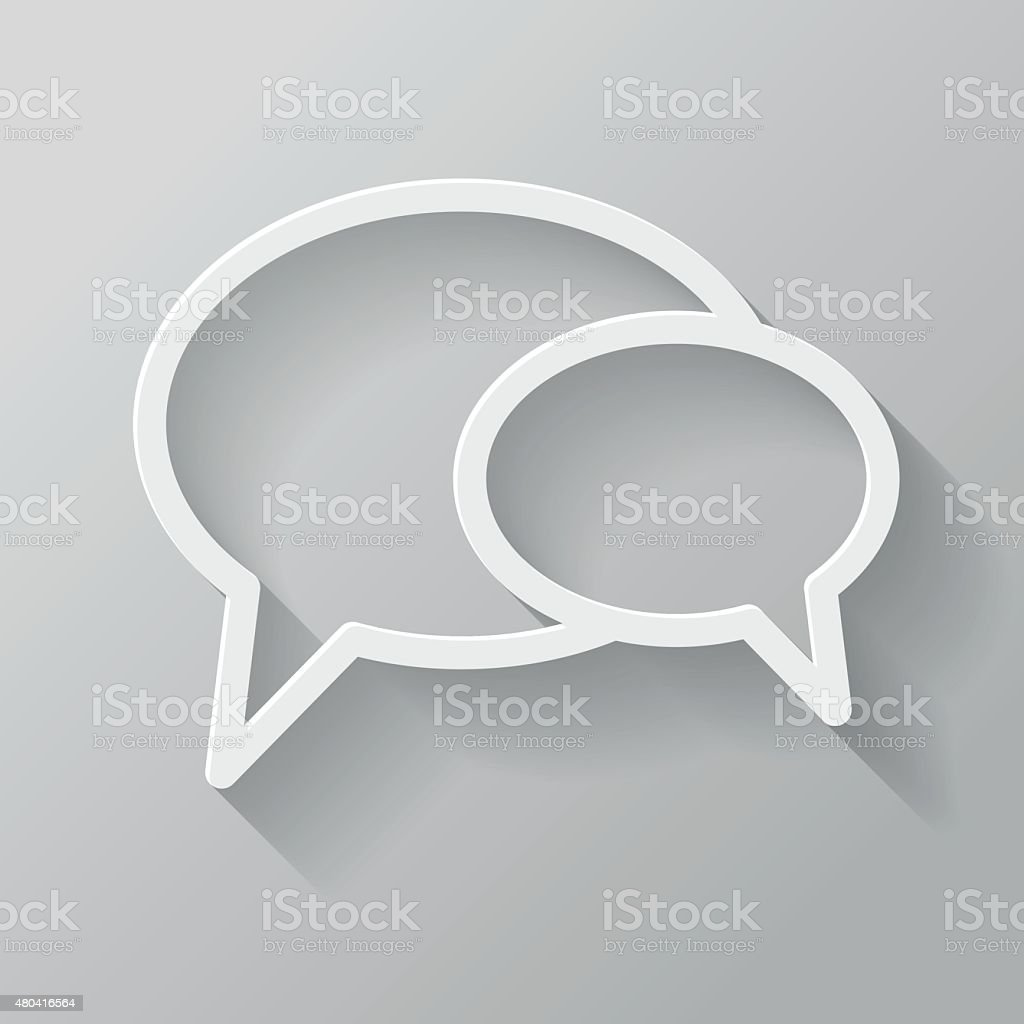 Chat Paper Thin Line Interface Icon With Long Shadow vector art illustration