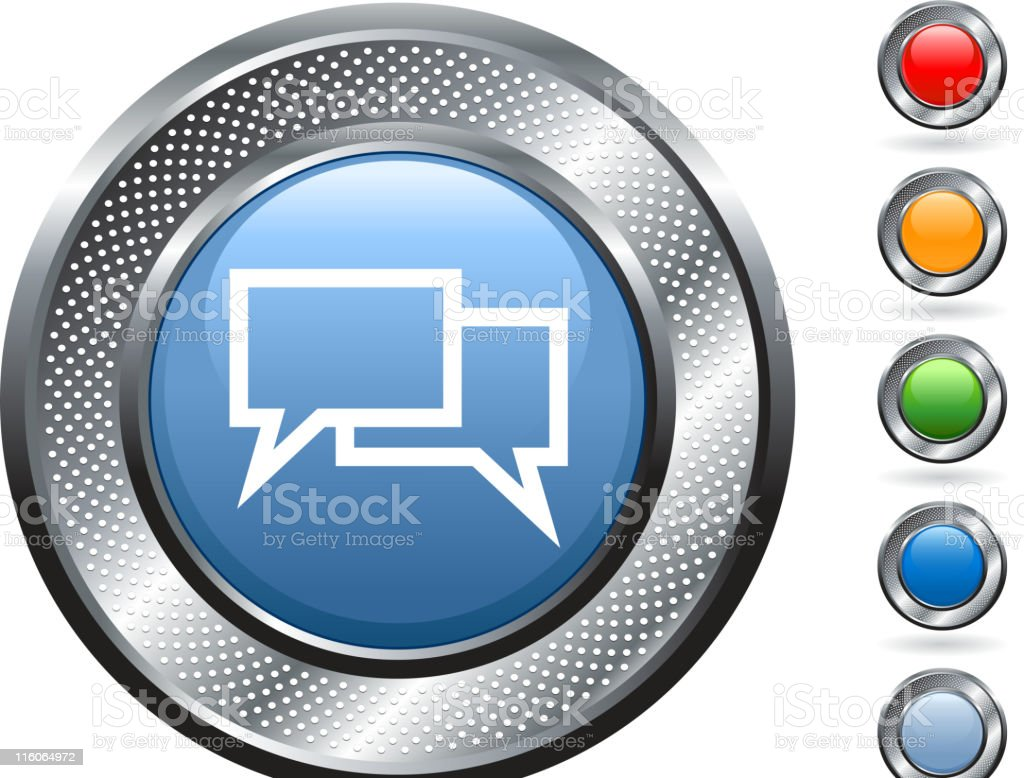 chat royalty free vector art on metallic button royalty-free stock vector art