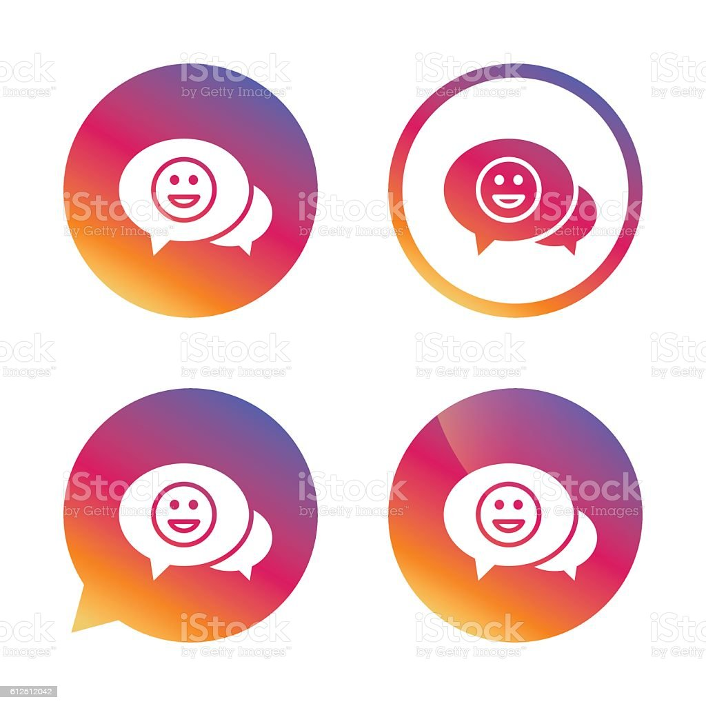 Chat Smile icon. Happy face symbol. vector art illustration