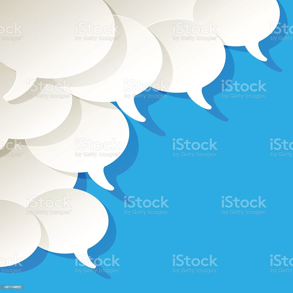 Chat speech bubbles ellipse vector white blue in the corner. vector art illustration