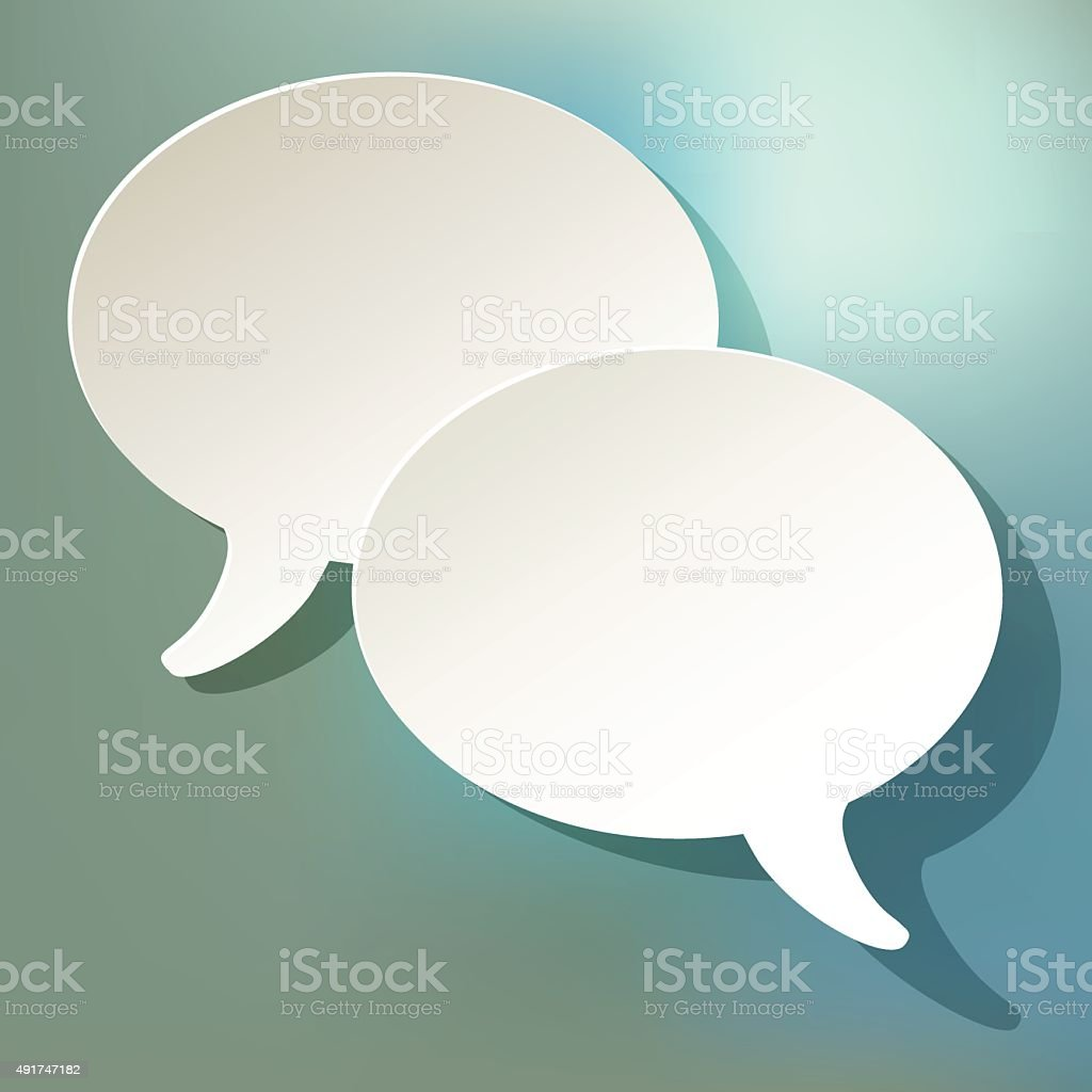 Chat speech bubbles ellipse vector white on a bokeh background. vector art illustration