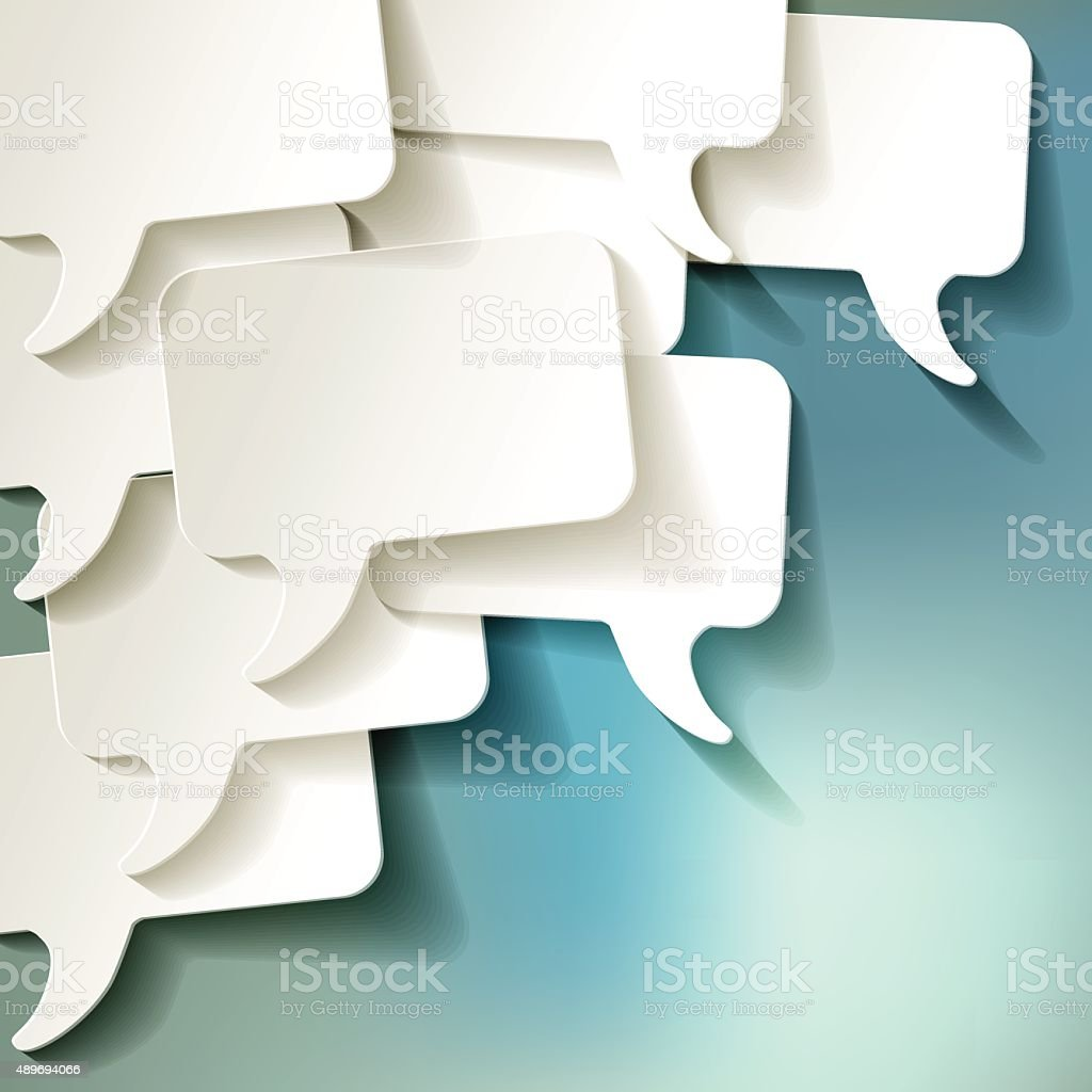 Chat speech bubbles vector white on a blue bokeh background. vector art illustration