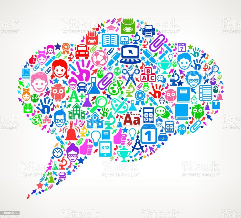 Chatbubble on School & Education  Icon Pattern vector art illustration