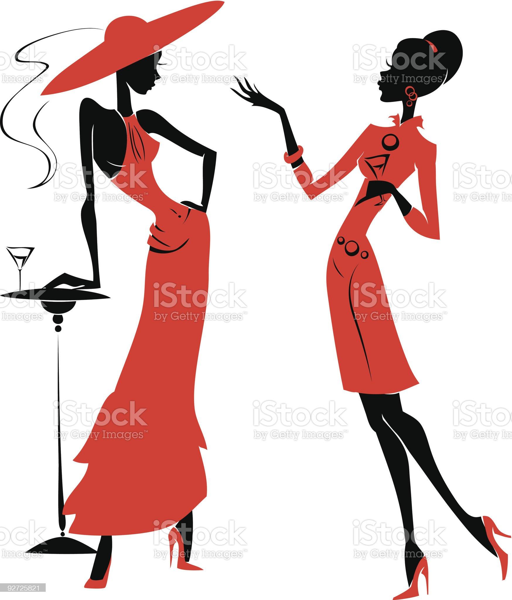 Chatting girls royalty-free stock vector art