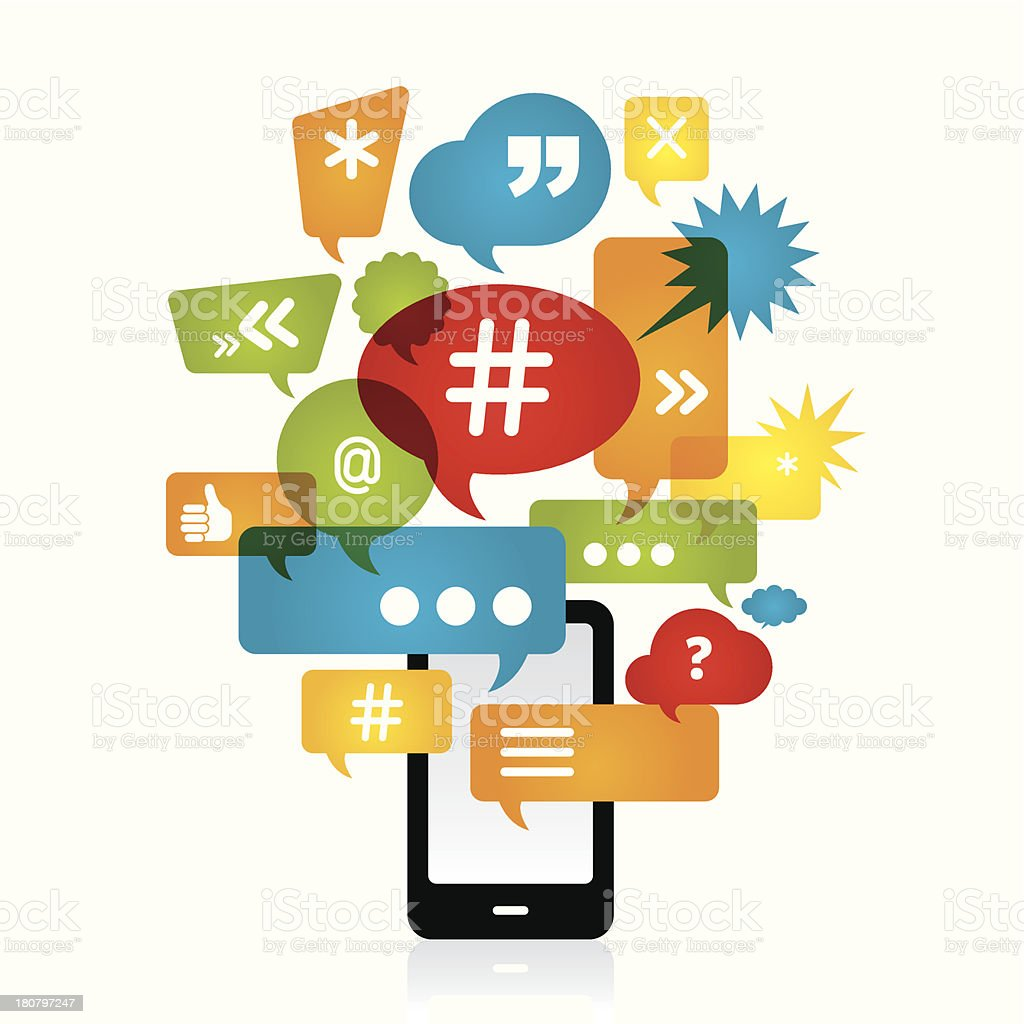 Chatting on smart phone vector art illustration