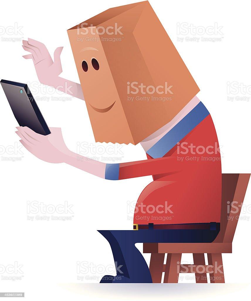 chatting via tablet vector art illustration
