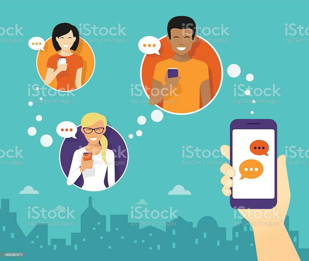 Chatting with friends via messenger app vector art illustration