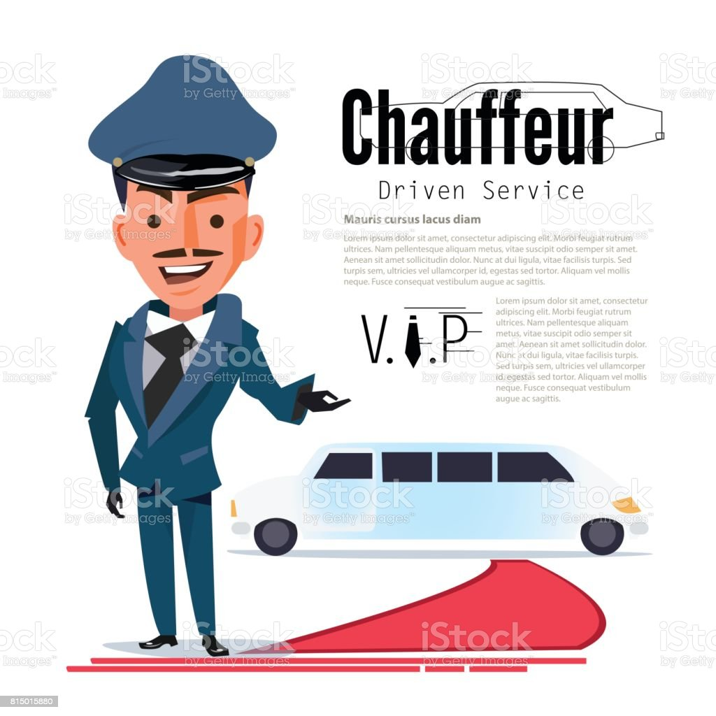 Chauffeur. character design with typographic for design your header. red capet - vector vector art illustration