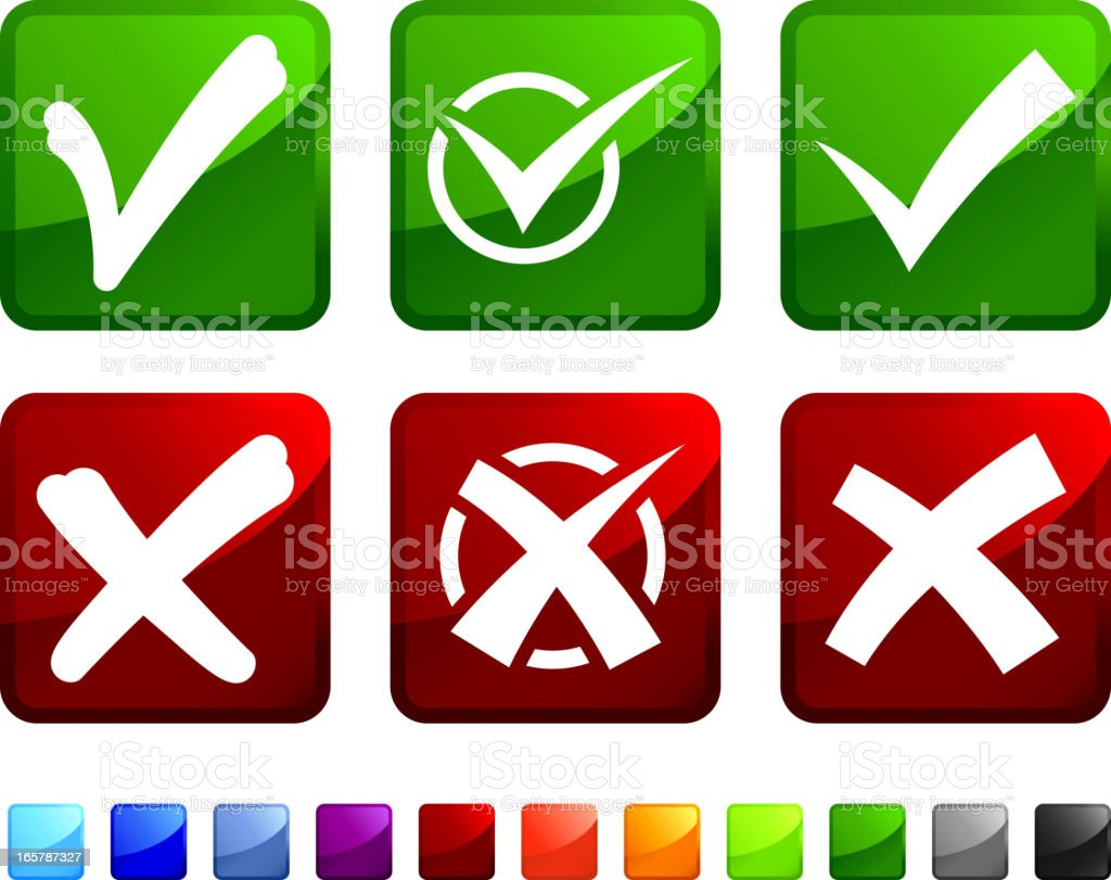 Check and X Mark royalty free vector icon set stickers royalty-free stock vector art