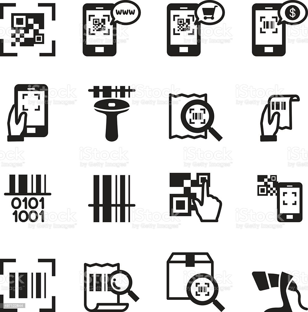 Check code , Barcode, QR code Reader Icons set Vector illustrati vector art illustration