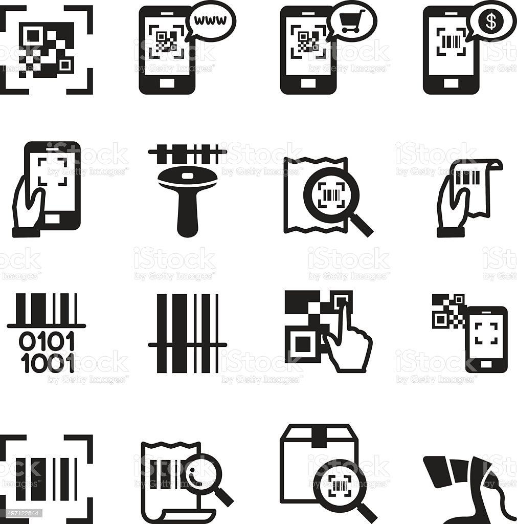 Check code , Barcode, QR code Reader Icons set Vector illustrati vector art illustration