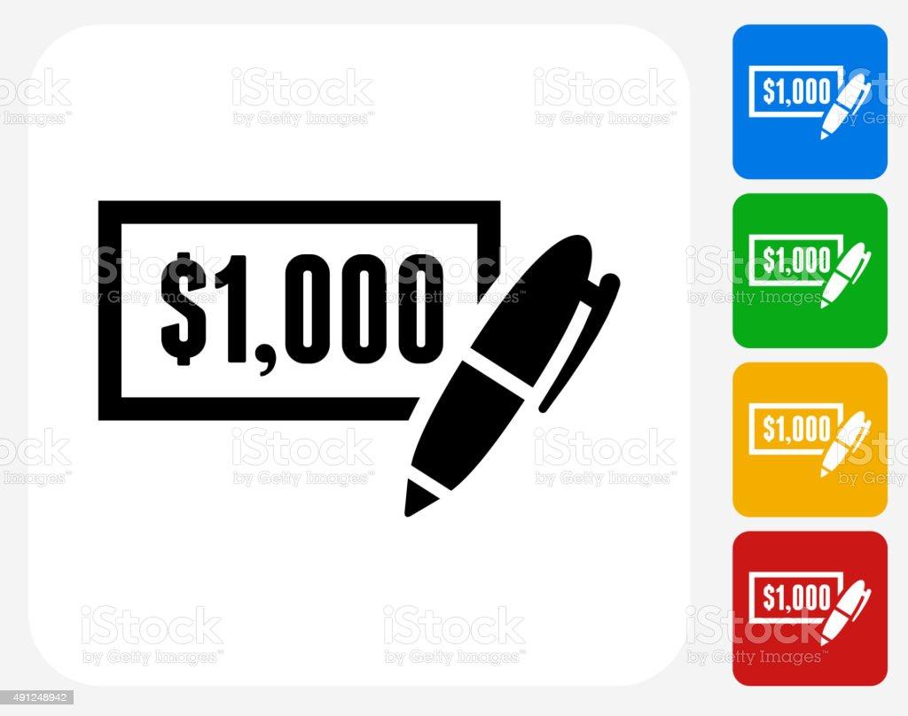 $1000 Check Icon Flat Graphic Design vector art illustration