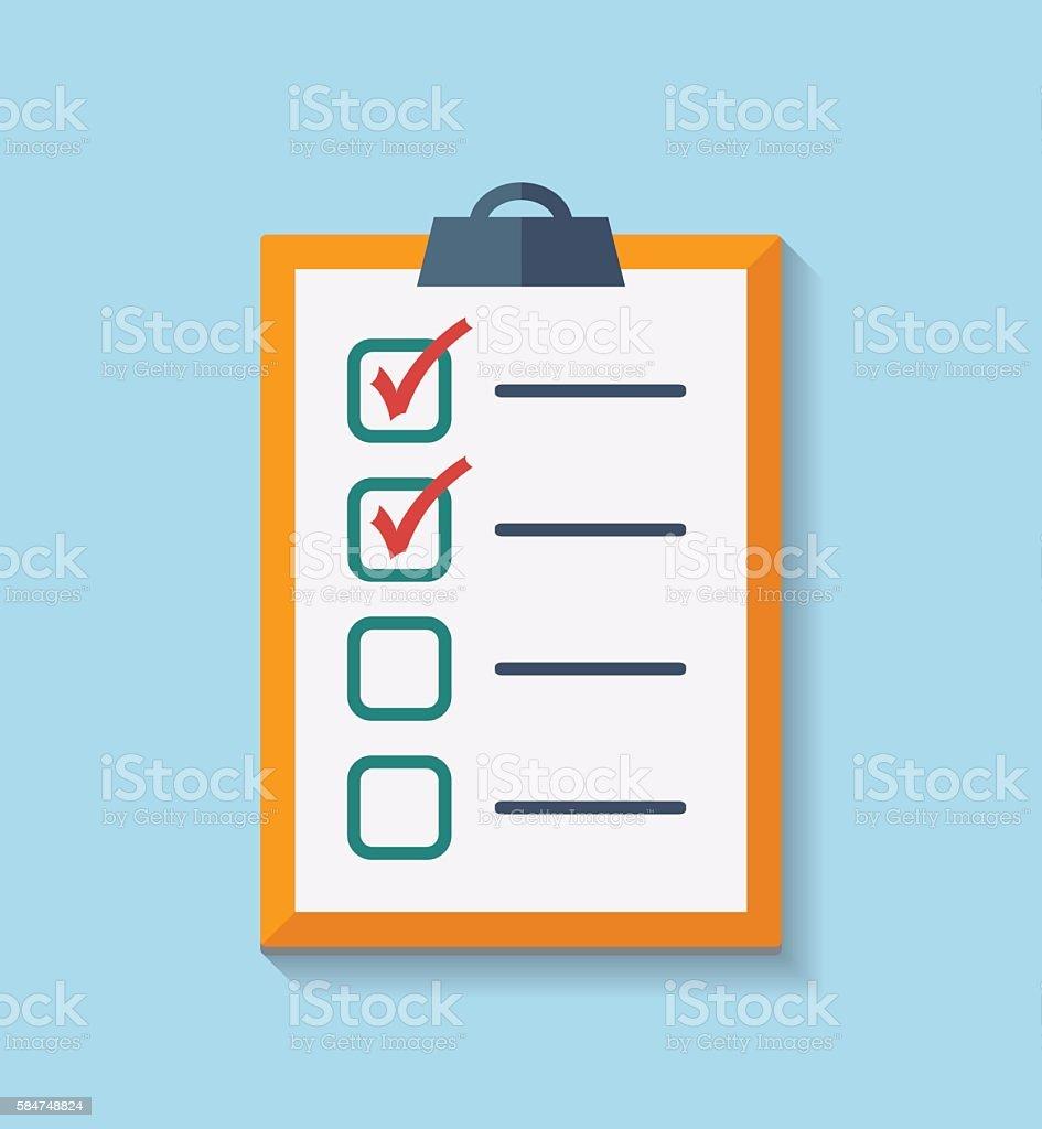 Check List Flat Icon. vector art illustration
