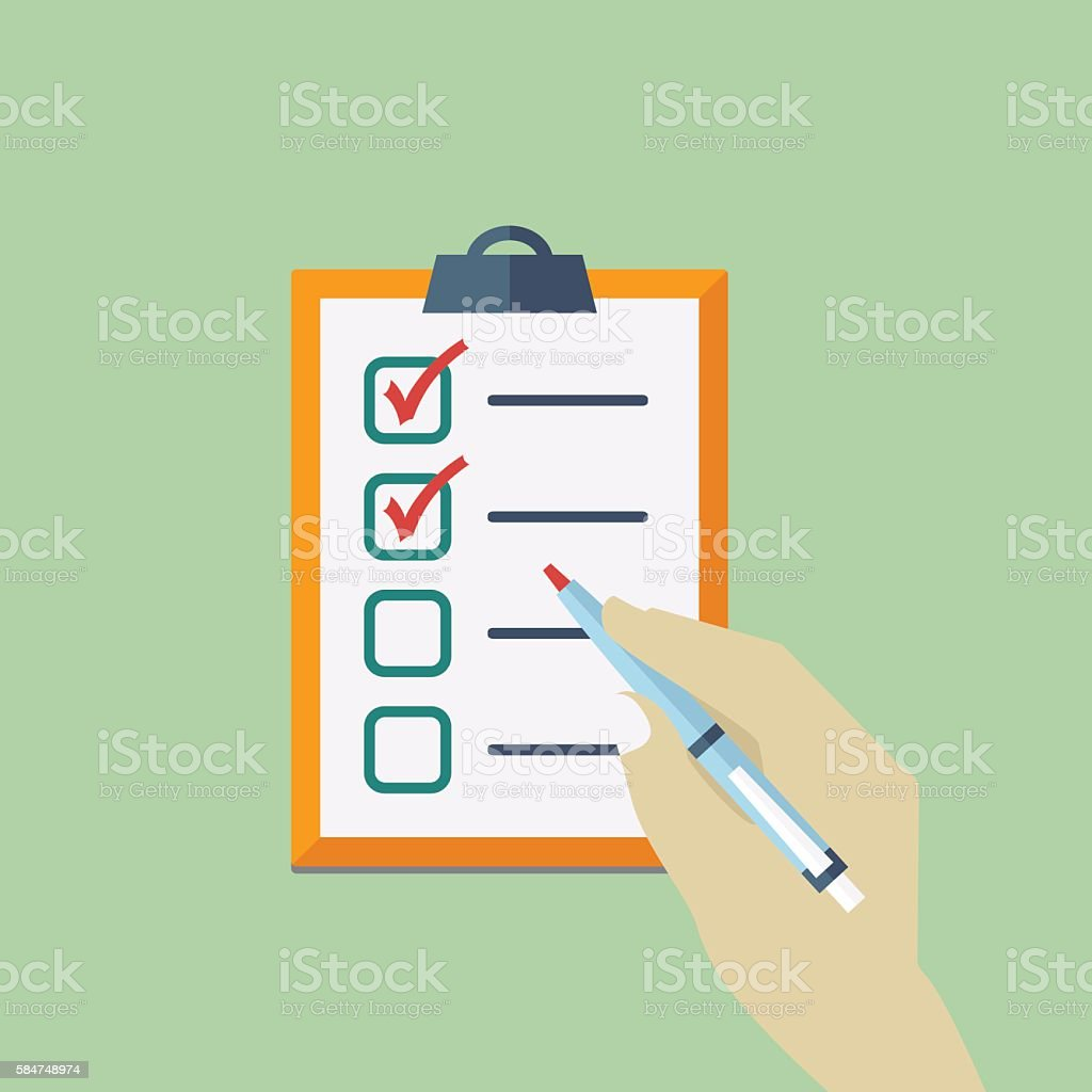 Check List Flat Icon with hand holding pen. vector art illustration