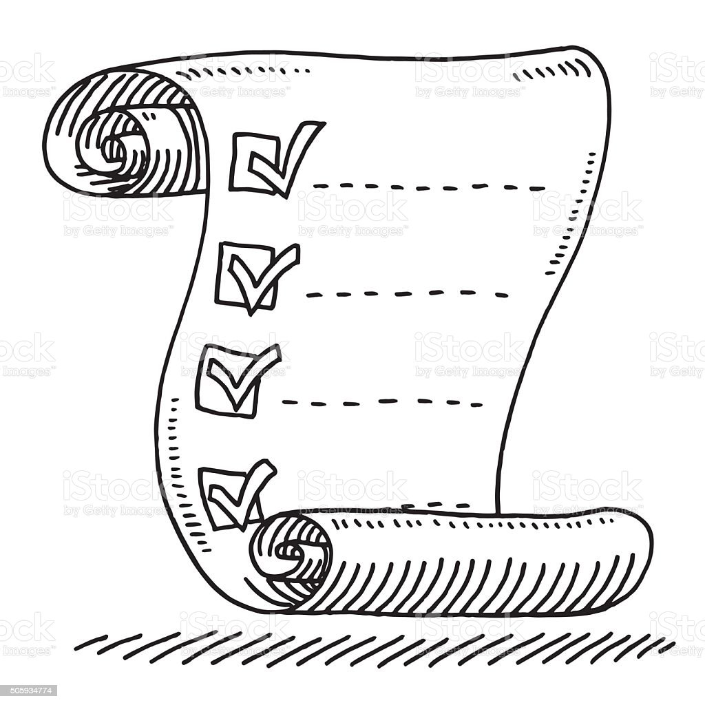 check list paper scroll drawing drawing stock vector art 505934774