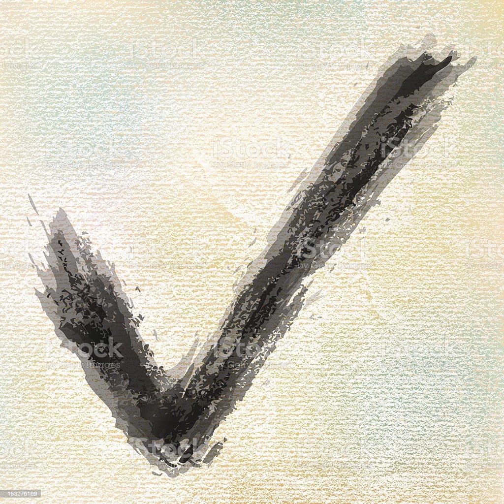 Check mark. 1 credits. Ink sketch brush stroke watercolor textured royalty-free stock vector art
