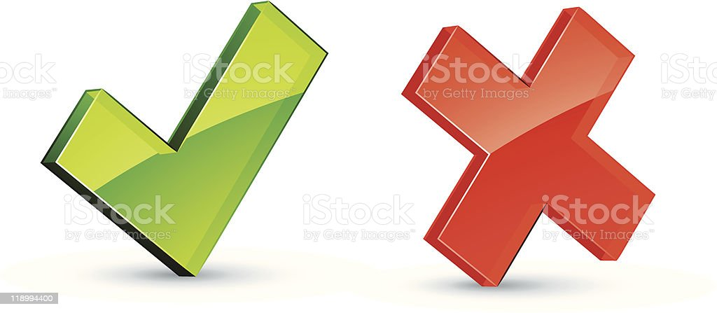 Check mark and cross icons royalty-free stock vector art
