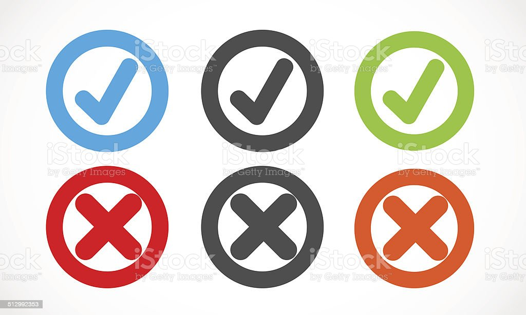 check mark circles vector art illustration