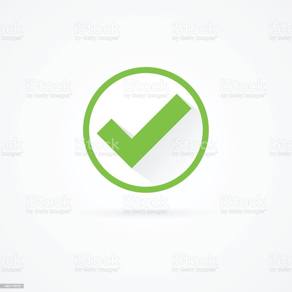 Check mark flat green icon with shadow. vector art illustration