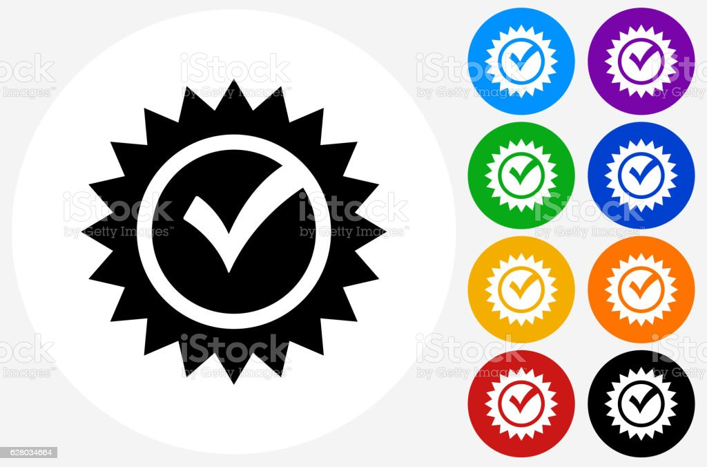 Check Mark Icon on Flat Color Circle Buttons vector art illustration