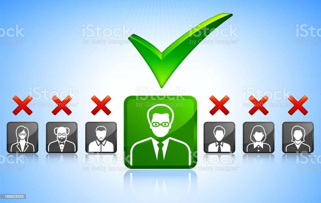 Check Mark Job SearchWith Business Concept Stick Figures royalty-free stock vector art
