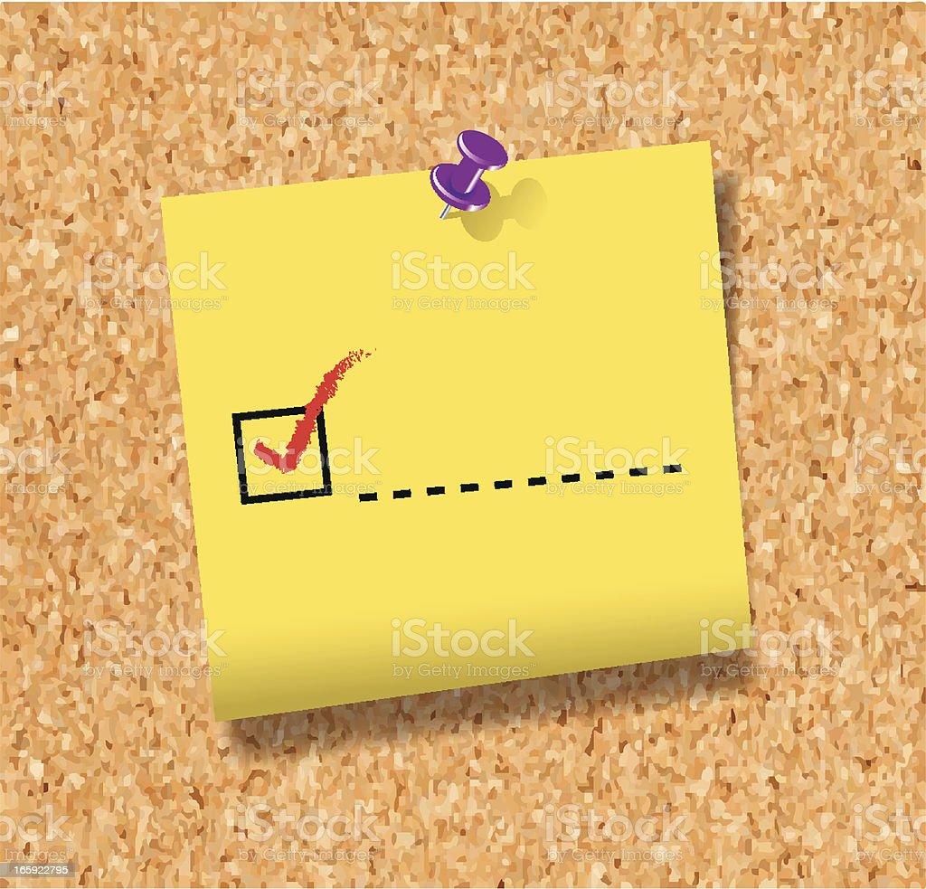 Check Mark on Note | Cork Board vector art illustration