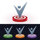 Check mark on target board. 3d shiny icons. Vector illustration.